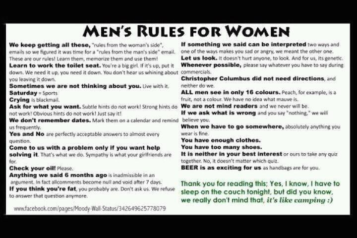 Men's Rules for Women